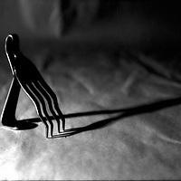 Bent fork , abstract black & white .