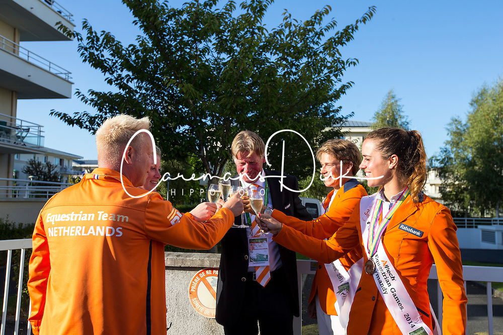 Team NED won bronze in the team test - Alltech FEI World Equestrian Games™ 2014 - Normandy, France.<br /> © Hippo Foto Team - Leanjo De Koster<br /> 31-08-14