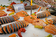Fresh fish and seafood on ice at a stall at the Athens food market