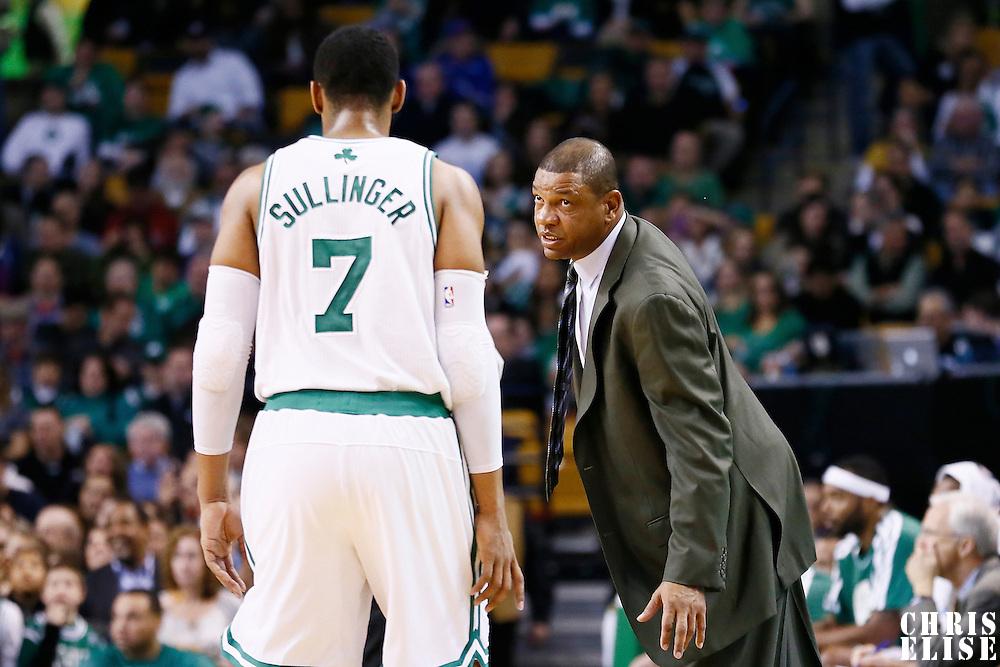 17 November 2012: Boston Celtics head coach Doc Rivers talks to Boston Celtics power forward Jared Sullinger (7) during the Boston Celtics 107-89 victory over the Toronto Raptors at the TD Garden, Boston, Massachusetts, USA.