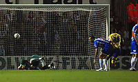 Photo: Ashley Pickering/Sportsbeat Images.<br /> Colchester United v Leicester City. Coca Cola Championship. 03/11/2007.<br /> Collin John's (out of frame) shot beats Colchester goalie Dean Gerken (L) to open the scoring for Leicester