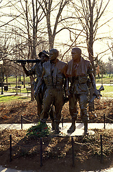 DC: Washington, DC Monuments, Vietnam War Memorial, 3 male soldiers statue      .Photo Copyright Lee Foster, lee@fostertravel.com, www.fostertravel.com, (510) 549-2202.Image washdc215