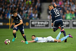 December 17, 2016 - Melbourne, Victoria, Australia - MARCO ROJAS (7) of the Victory wins the ball from JOSHUA ROSE (3) of Melbourne City in the round 11 match of the A-League between Melbourne City and Melbourne Victory at AAMI Park, Melbourne, Australia. Victory won 2-1 (Credit Image: © Sydney Low via ZUMA Wire)