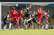 Picture by David Horn/Focus Images Ltd +44 7545 970036.18/08/2012.Kane Ferninand of Southend United goes close with a header during the npower League 2 match at Roots Hall, Southend.