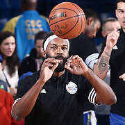 Delaware 87ers Guard BARON DAVIS (34) receives the ball during warm ups prior to a NBA D-league regular season basketball game between the Delaware 87ers and the Iowa Energy Friday, Mar. 04, 2016. at The Bob Carpenter Sports Convocation Center in Newark, DEL.