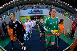 ASTANA, KAZAKHSTAN - Sunday, September 17, 2017: Kazakhstan's goalkeeper Irina Sandalova and Wales' goalkeeper Laura O'Sullivan lead the teams out before the FIFA Women's World Cup 2019 Qualifying Round Group 1 match between Kazakhstan and Wales at the Astana Arena. (Pic by David Rawcliffe/Propaganda)