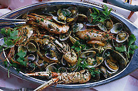 ca. August 2000, San Fruttuoso, Italy --- Prawns and Clams with Parsley --- Image by © Owen Franken/CORBIS