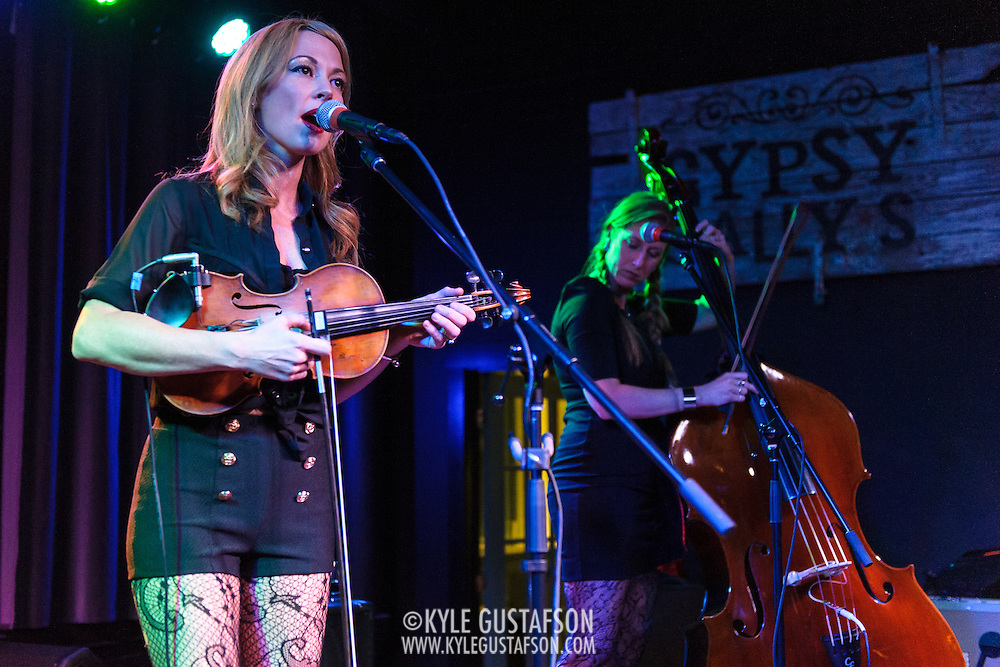 WASHINGTON, DC - January 8th, 2014 - Amanda Shires (left) and Stephanie Dickinson (right) perform at Gypsy Sally's in Washington, D.C. Shires, who released her fifth solo album in 2013, has also performed with acts such as the Thrift Store Cowboys and Jason Isbell & the 400 Unit. (Photo by Kyle Gustafson /  For The Washington Post)
