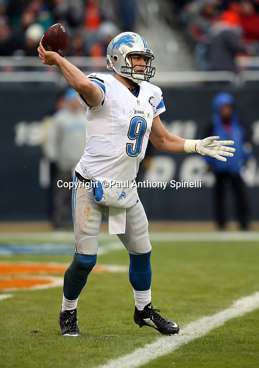 Detroit Lions quarterback Matthew Stafford (9) throws a third quarter pass during the NFL week 17 regular season football game against the Chicago Bears on Sunday, Jan. 3, 2016 in Chicago. The Lions won the game 24-20. (©Paul Anthony Spinelli)