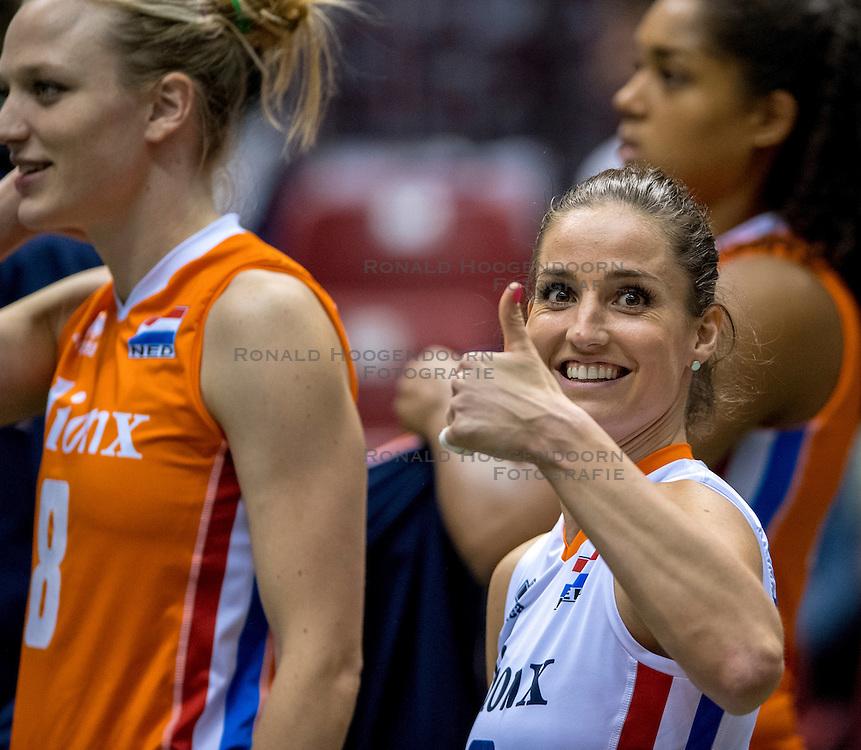 18-05-2016 JAP: OKT Nederland - Dominicaanse Republiek, Tokio<br /> Nederland is weer een stap dichterbij kwalificatie voor de Olympische Spelen. Dit dankzij een 3-0 overwinning op de Dominicaanse Republiek / Myrthe Schoot #9