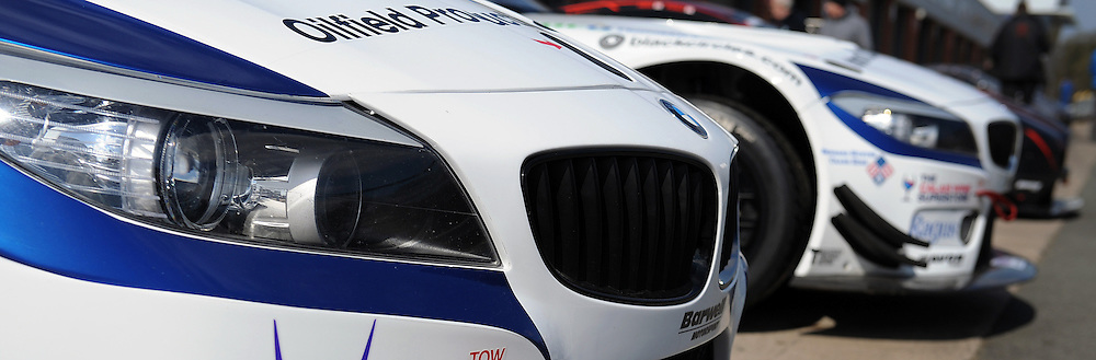 The two BMW's of Ecurie Ecosse, Marco Attard & Oliver Bryant and Barwell Motorsport, Ron Johnson & Piers Johnson, BMW Z4 GT3, GT3  during qualifying and practice at the first round of the Avon Tyres British GT Championship held at Oulton Park, Cheshire, UK.  29th March 2013 WAYNE NEAL | STOCKPIX.EU