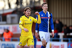 Luke James of Bristol Rovers and Jim McNulty of Rochdale - Mandatory by-line: Matt McNulty/JMP - 04/02/2017 - FOOTBALL - Crown Oil Arena - Rochdale, England - Rochdale v Bristol Rovers - Sky Bet League One