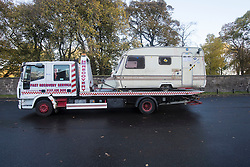 The Scottish Independence camp (Indy Camp) has been evicted from the grounds of the Scottish Parliament.<br /> <br /> Pictured: Caravans being towed from camp