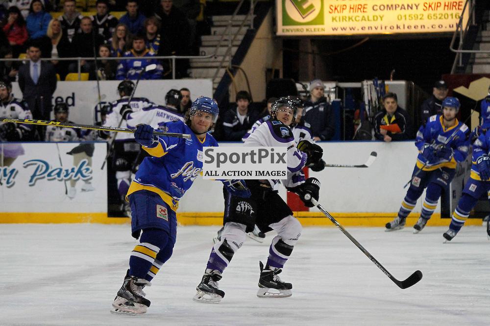 Fife Flyers V Braehead Clan, Elite Ice Hockey League, 28 November 2015Fife Flyers V Braehead Clan, Elite Ice Hockey League, 28 November 2015<br /> <br /> FIFE FLYERS #61 TJ CAIG GETS PULLED ALONG BY BRAEHEAD CLAN #12 ALEX LEVITT