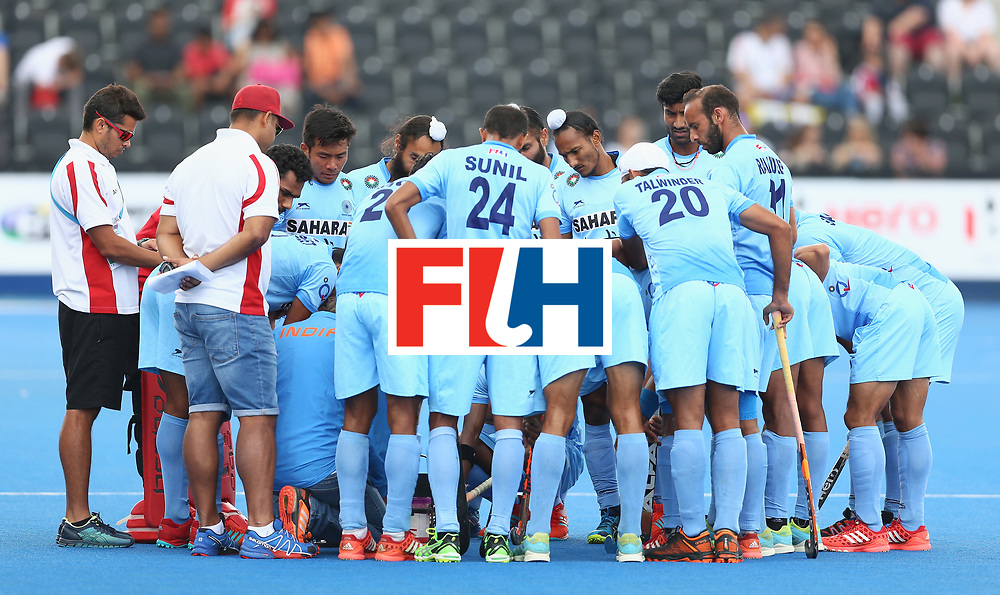 LONDON, ENGLAND - JUNE 24: India players have a team talk prior to the 5th-8th place match between Pakistan and India on day eight of the Hero Hockey World League Semi-Final at Lee Valley Hockey and Tennis Centre on June 24, 2017 in London, England. (Photo by Steve Bardens/Getty Images)