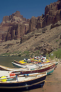 Dories beached along the Colorado River above the confluence of the Colorado River, Grand Canyon National Park, Arizona