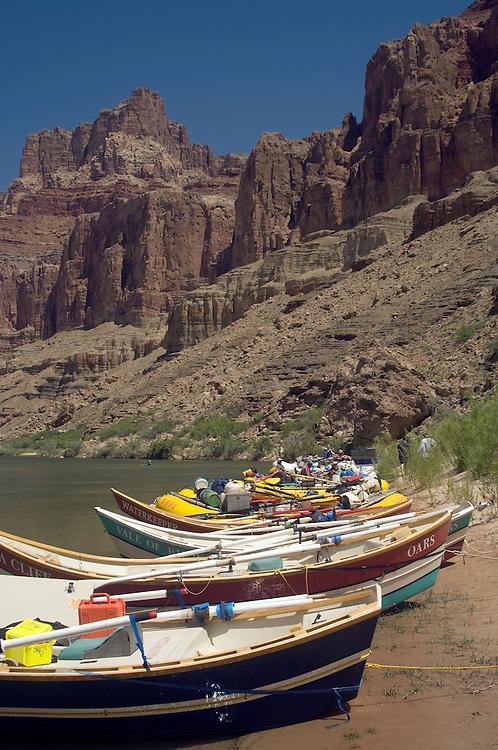 Dories beached along the Colorado River above the confluence of the Colorado River, Grand Canyon National Park, Arizona