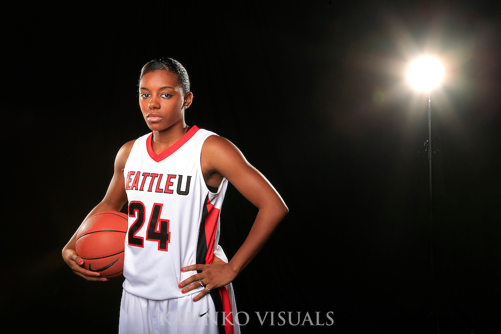 Daidra Brown, a junior guard from Seattle, Wash poses for a Seattle University Athletics Division 1 photo shoot.