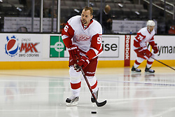 Nov 17, 2011; San Jose, CA, USA; Detroit Red Wings left wing Tomas Holmstrom (96) warms up before the game against the San Jose Sharks at HP Pavilion. San Jose defeated Detroit 5-2. Mandatory Credit: Jason O. Watson-US PRESSWIRE