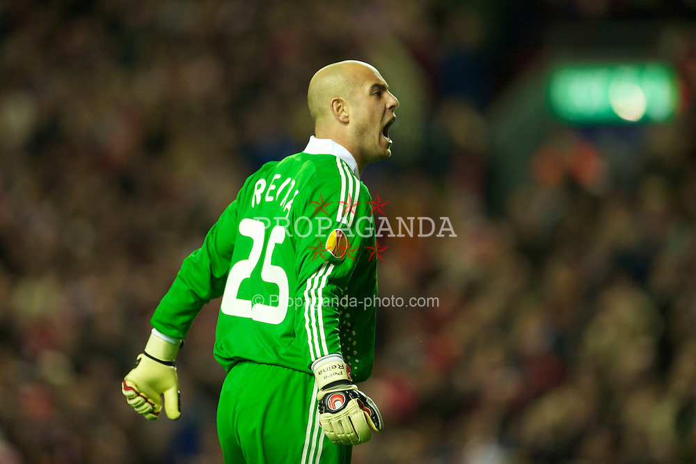 LIVERPOOL, ENGLAND - Thursday, April 29, 2010: Liverpool's goalkeeper Pepe Reina in action against Club Atletico de Madrid during the UEFA Europa League Semi-Final 2nd Leg match at Anfield. (Photo by: David Rawcliffe/Propaganda)