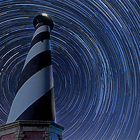 16 July 2013: A 285 frame stacked image of the Cape Hatteras Light House taken between 10:45PM on 7-15-13 and 1:40AM on 7-16-13. Exposures were 30 seconds each with a 2 sec interval. ISO 500, WB at 3030K and 30sec/2.8