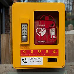 Public Defibrillator AED in public park
