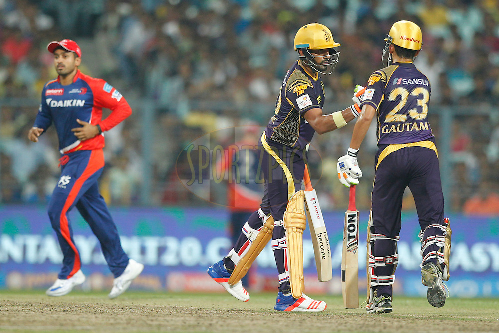 Robin Uthappa of the Kolkata Knight Riders with Gautam Gambhir captain of the Kolkata Knight Riders during match 2 of the Vivo Indian Premier League ( IPL ) 2016 between the Kolkata Knight Riders and the Delhi Daredevils held at the Eden Gardens Stadium in Kolkata on the 10th April 2016<br /> <br /> Photo by Deepak Malik/ IPL/ SPORTZPICS
