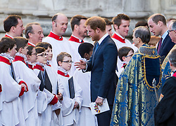 © Licensed to London News Pictures. 14/03/2016. London, UK. PRINCE HARRY and PRINCE WILLIAM talk to choir boys as he leaves Westminster Abbey in London after attending a service to mark Commonwealth Day 2016.  Photo credit: Ben Cawthra/LNP
