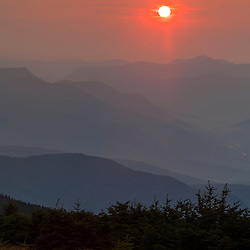 Sunrise over the White Mountains as seen from the Appalachian Trail on Mount Moosilauke.