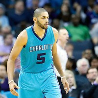 01 November 2015: Charlotte Hornets forward Nicolas Batum (5) is on defense during the Atlanta Hawks 94-92 victory over the Charlotte Hornets, at the Time Warner Cable Arena, in Charlotte, North Carolina, USA.