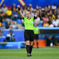 Esther Staubli referee asks VAR during the Women's World Cup match between Australia and Brazil at Stade de la Mosson on June 13, 2019 in Montpellier, France. (Photo by Alexandre Dimou/Icon Sport)