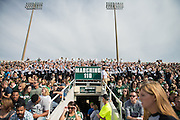 Members of Ohio University's Marching 110 watch the Bobcat's take on Bowling Green during the homecoming matchup at Peden Stadium on Saturday, October 9, 2016.