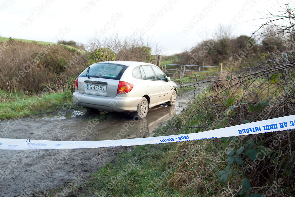 09.01.12<br /> Mr Kennedy's car parked at Derrynalecka in west Clare after the pensioner apparently stopped after feeling unwell. The 72-year-old's body was discovered in a nearby stream after he suffered a suspected hear attack and lost his footing.<br /> Pic: Press 22