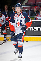 KELOWNA, CANADA - NOVEMBER 30:  Chase Souto RW #12 of the Kamloops Blazers skates during warm up against the Kelowna Rockets on November 30, 2013 at Prospera Place in Kelowna, British Columbia, Canada.   (Photo by Marissa Baecker/Shoot the Breeze)  ***  Local Caption  ***