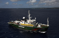MAURITIUS 5MAY13 - The Greenpeace ship Esperanza sails past Grand Baie in Mauritius where the Indian Ocean Tuna Commission holds its annual meeting this week.<br /> <br /> <br /> <br /> The Greenpeace ship Esperanza delivered its message to the IOTC delegates highlighting the concerns of unsustainable fishing practices in the Indian Ocean.<br /> <br /> <br /> <br /> jre/Photo by Jiri Rezac / Greenpeace