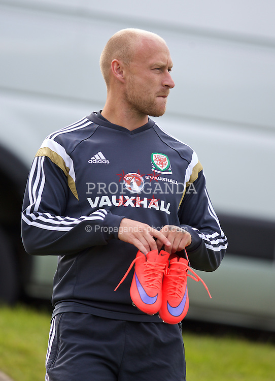 CARDIFF, WALES - Monday, June 8, 2015: Wales' David Cotterill during a training session at the Vale of Glamorgan ahead of the UEFA Euro 2016 Qualifying Round Group B match against Belgium. (Pic by David Rawcliffe/Propaganda)