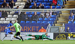 Conor Sammon of Sheffield United scores to make it 2-1 past Ben Alnwick of Peterborough United - Mandatory byline: Joe Dent/JMP - 07966386802 - 18/08/2015 - FOOTBALL - ABAX Stadium -Peterborough,England - Peterborough United v Sheffield United - Sky Bet League One