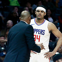 04 March 2018: LA Clippers forward Tobias Harris (34) listens to LA Clippers head coach Doc Rivers during the LA Clippers 123-120 victory over the Brooklyn Nets, at the Staples Center, Los Angeles, California, USA.