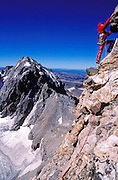 Climber on the Petzolt Ridge of the Grand Teton, Grand Teton National Park, Wyoming USA