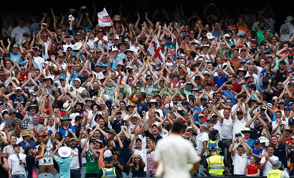 The Barmy Army celebrates England's Alastair Cook's double century during day three of the Ashes Test match at the Melbourne Circket Ground, Melbourne.