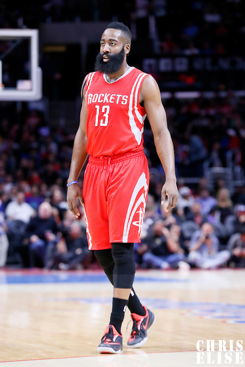 11 February 2015: Houston Rockets guard James Harden (13) is seen during the Los Angeles Clippers 110-95 victory over the Houston Rockets, at the Staples Center, Los Angeles, California, USA.