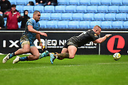 Wasps hooker Tom Cruse (2) go's over for his second try during the Aviva Premiership match between Wasps and London Irish at the Ricoh Arena, Coventry, England on 4 March 2018. Picture by Dennis Goodwin.