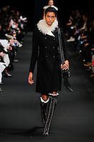 Imaan Hammam (DNA) walks the runway wearing Altuzarra Fall 2015 during Mercedes-Benz Fashion Week in New York on February 14, 2015