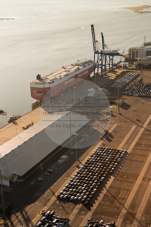 Aerial view of the car terminal at the port of Charleston, South Carolina.