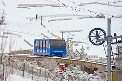 The funicular train at the Cairngorm Ski Area taking skiers up to the ski run at as Storm Doris hits the UK. 24 Feb 2017 (c) Brian Anderson | Edinburgh Elite media
