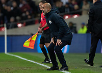 Football - 2018 / 2019 Premier League - Tottenham Hotspur vs. Manchester City<br /> <br /> Pep Guardiola, Manager of Manchester City, loses his patience with his team as he screams across the pitch at Wembley Stadium.<br /> <br /> COLORSPORT/DANIEL BEARHAM