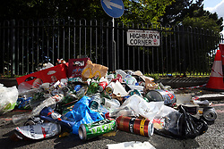 15 September 2017 - Arsenal v FC Koln - A pile of rubbish left by the FC Koln fans at Highbury Corner - Photo: Charlotte Wilson / Offside