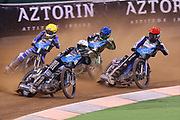 Jason Doyle takes the lead during the 2019 Adrian Flux British FIM Speedway Grand Prix at the Principality Stadium, Cardiff, Wales on 21 September 2019.