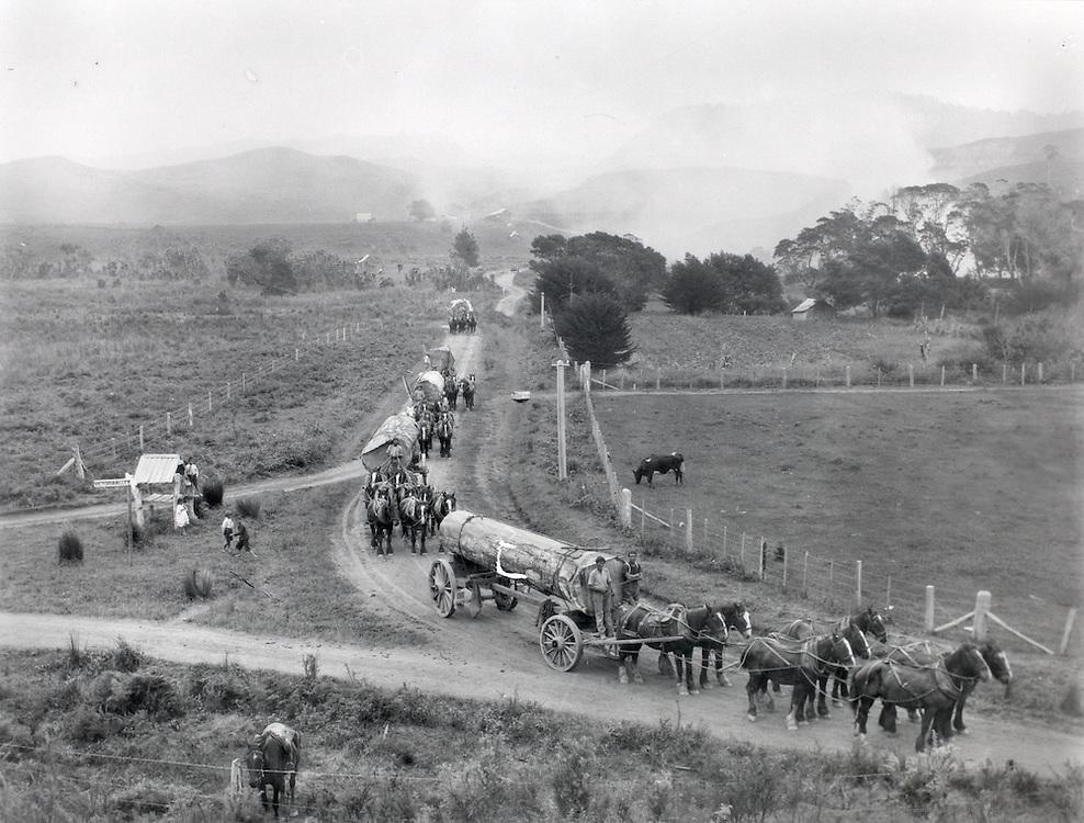 Log Wagon and Horses, Australia, 1930