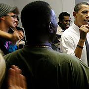 OT_296295_ALLE_Obama.WILLIE J. ALLEN JR.  |   Times.(10/21/2008 Lake Worth).Senator Barack Obama discusses the merits of early voting with volunteers at the America field office during his Barnstorm across Florida tour in Fort Lauderdale Tuesday afternoon.  (WILLIE J. ALLEN JR.   |   Times)